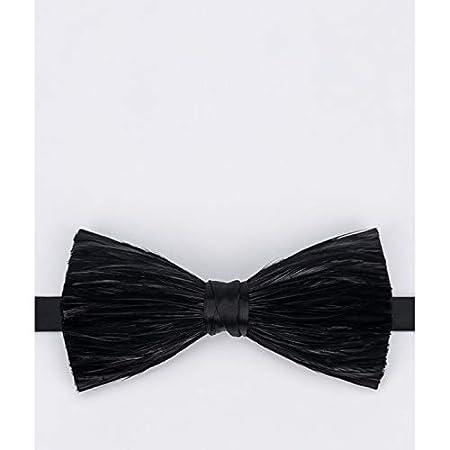 JEOSNDE Moda Negro Seda Pluma Corbata con Textura de los Hombres ...