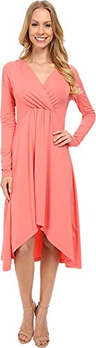 mod-o-doc-womens-cotton-modal-spandex-jersey-3-4-sleeve-shirred-empire-hi-low-dress-cafe-coral-dress