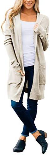 MEROKEETY Women's Long Sleeve Open Front Hoodie Knit Sweater Cardigan with Pockets