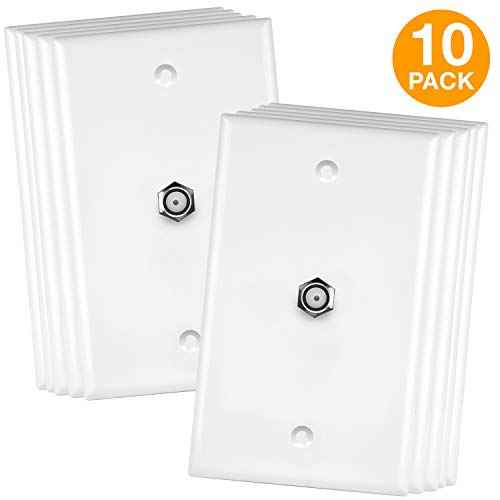 ENERLITES 6601-W-10PCS Coaxial Jack Wall Plate By 1-Gang, F-Type Connector (Female to Female), Nickel, White, Single Coax Cable Cord Outlet Plug