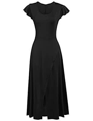 Zeagoo Women Ladies Front High Slit Long Dress Cap Sleeve Fit Flare Maxi Party Dress