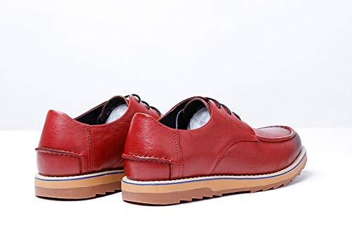 Brown E Size Gama 38 color Yao Marca Ocasionales Con Zapatos Otoño Invierno Alta Hombres La De Para Cuero Cordones Red eu xIwf4qaB