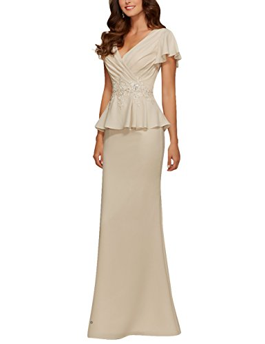 Evening Mother Dresses Beads Formal Applique Cdress Prom Champagne Chiffon Peplum Gowns qFxg0UTw