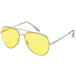 Classic Aviator Sunglasses Yellow Gradient Lens Metal Silver Frame Stylish