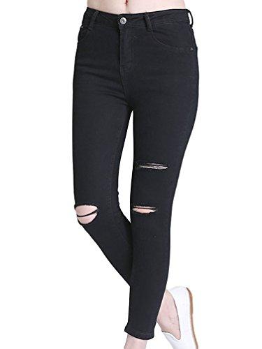 Elastico Nero Pantaloni Ripped Leggings Pantaloni Matita Anguang Denim Donna Lunghi Skinny Jeans 2 UTwO0P