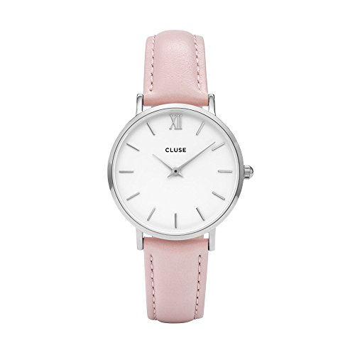 CLUSE Minuit Silver White Analog Display Quartz Watch, Pink Leather Band, Round 33mm Case