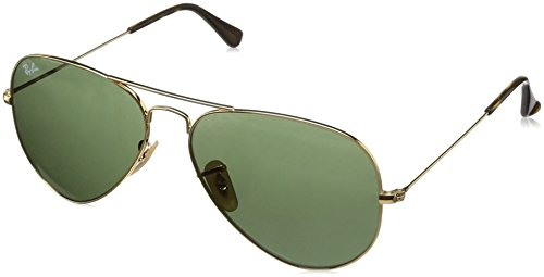 Ray-Ban RB3025 Aviator Sunglasses, Gold/Crystal Green, 58 mm ()
