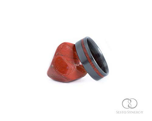(Black Ceramic with Off-Center Red Jasper Mineral Stone Inlay. 7 mm.)