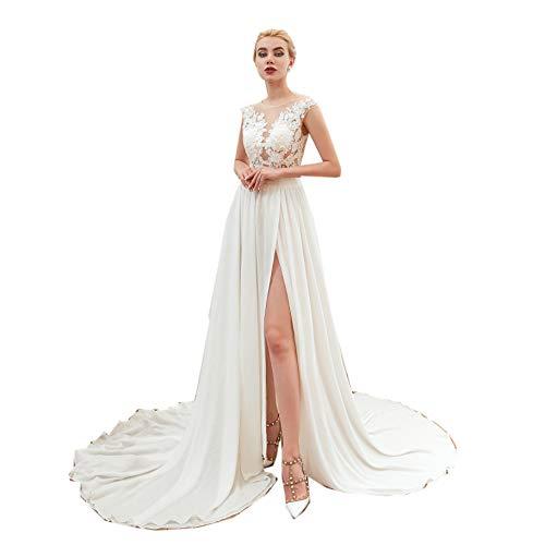 Heartgown Women's Lace Chiffon Beach Wedding Dress Spagetti High Split Backless Gown (US4, White2)