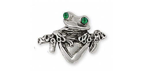 Frog Jewelry Sterling Silver Frog Brooch Pin Handmade Frog Jewelry FG2-XBR
