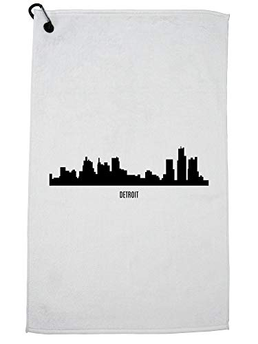 Hollywood Thread Detroit Skyline - Detroit Strong - Michigan Golf Towel with Carabiner Clip