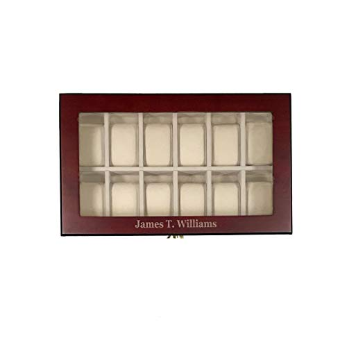 (Elegant 12 Piece Personalized Cherry Wood Rosewood Watch Box Display Case Collection Jewelry Box Storage Glass Top)