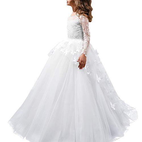(IBTOM CASTLE Little Big Girl Full Length Lace Bodice Tulle Ball Gown Flower Communion Dress for Kids Princess Pageant Appliques Dance Costume #F White Long Sleeve Butterfly 8-9 Years)