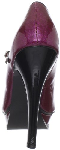 Pin Up Couture Peeptoes PLEASURE-02G Fuchsia Pearlized Gltr Pat