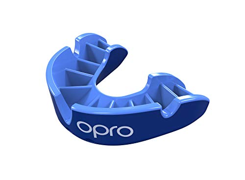 OPRO Silver Level Mouthguard   Gum Shield for Rugby, Hockey, Wrestling, and Other Combat and Contact Sports - 18 Month Dental Warranty (Adult, Blue/Light Blue) ()
