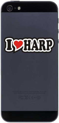 I Love Heart Decal Sticker mobile phone skin 50 mm I LOVE HARP