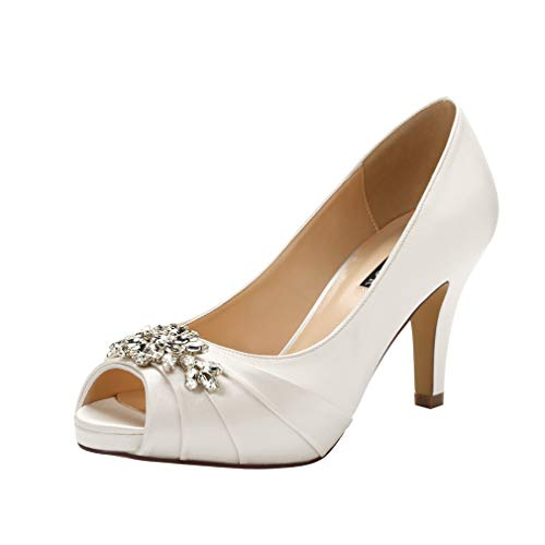 ERIJUNOR E0055 Peep Toe Mid Heels for Woman Rhinestones Satin Evening Prom Wedding Shoes Ivory Size 10.5 ()