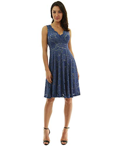 PattyBoutik Women Floral Lace Overlay Fit and Flare Dress (Blue and Gray Medium)