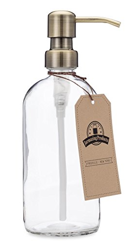 Clear Glass Pint Jar Soap and Lotion Dispenser with Metal (Lotion Dispenser Loft)