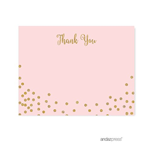 Andaz Press Blush Pink Gold Glitter Girl's 1st Birthday Party Collection, Blank Thank You Notes with Envelopes, 20-Pack
