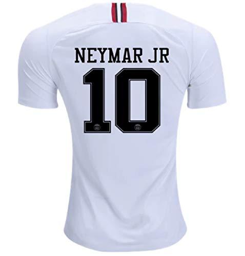 Neymar JR 10 PSG Third Stadium Shirt 2018-19 (Official Printing) Soccer Jersey Third Jordan Men's (White, L)