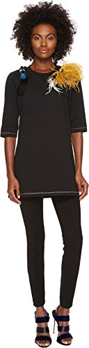 Sonia Rykiel Women's Runway Embroidered Cotton Jersey w/ Feathers Tee Black Large by Sonia Rykiel (Image #3)