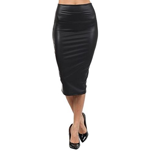 Queenfashion Women's Below Knee Stretch Skinny Faux Leather Pencil Mini Skirts