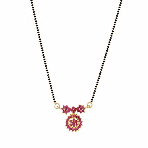 Efulgenz Indian Bollywood Traditional Gold Plated American Diamond CZ Mangalsutra Pendant Necklace Jewelry Women ()