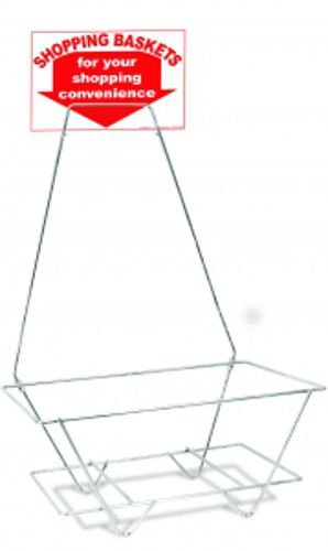 Universal Hand Held Shopping Basket Rack & Sign in Chrome Finish