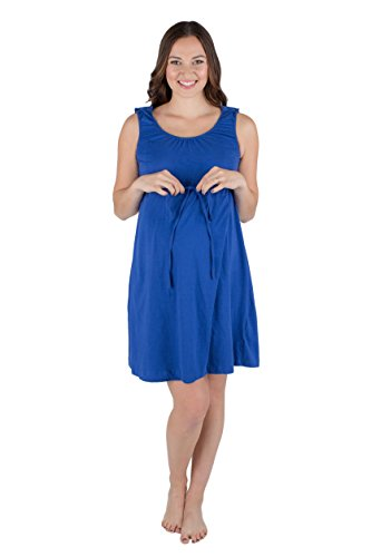 Baby Be Mine 3 in 1 Labor/Delivery/Nursing Hospital Gown Maternity, Hospital Bag Must Have (S/M, Saphire Blue)