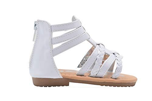 bebe Toddler Girls Gladiator Fashion Sandal Braided Metallic Trim Strap Slide Shoe (9, White/Silver)]()