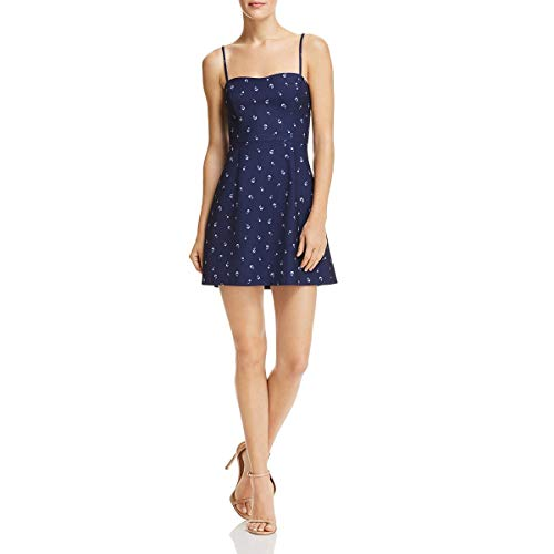 French Connection Womens Floral Sweetheart Mini Dress Navy 4