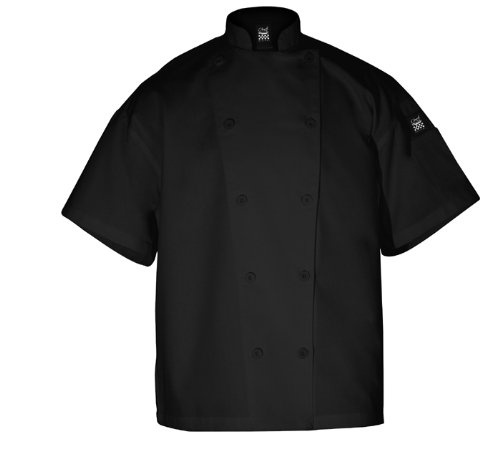 Chef Revival J005BK Poly Cotton Knife and Steel Short Sleeve Chef Jacket with Black Chef Logo Button, Medium, Black ()