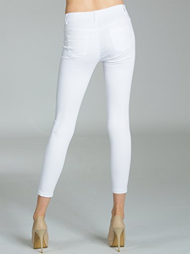 Mujer Khs039 Blanco Vaqueros Pitillos Caspar Pantalones Rotos Para I6dSaRqx