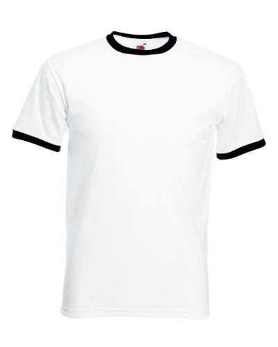 Fruit of the Loom Mens Ringer Short Sleeve T-Shirt (XXL) (White/Black)