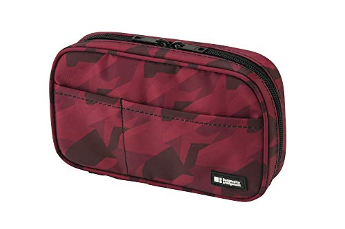 LIHIT LAB Zipper Pen Case, 7.9 × 2 × 4.7 Inches, Maroon Camo (A7551-133)
