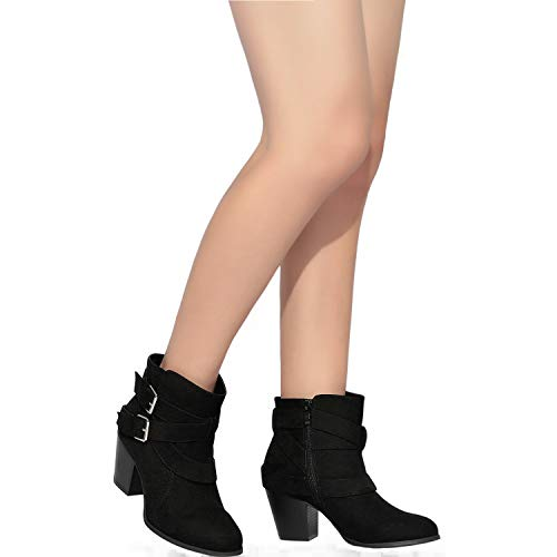 Pictures of Luoika Women's Wide Width Ankle Boots - Black 10 XW US 3