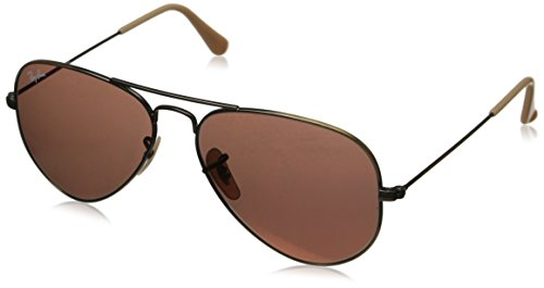 Ray-Ban Aviator Classic, Demiglos Brushed Bronze/ Red Mirror, 58 - Ray Red Ban Aviator Glass