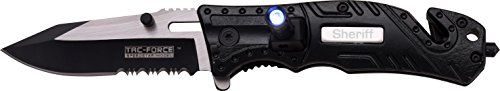 (TAC Force TF-835SH Spring Assist Folding Knife, Two-Tone Half-Serrated Blade, Black Handle, 4.5-Inch Closed)