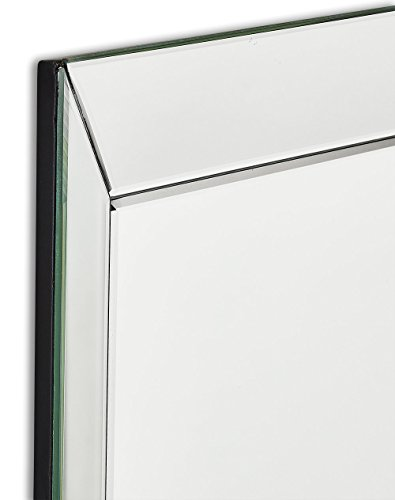 Large Framed Wall Mirror With 3 Inch Angled Beveled Mirror Frame Premium Silver Backed Glass