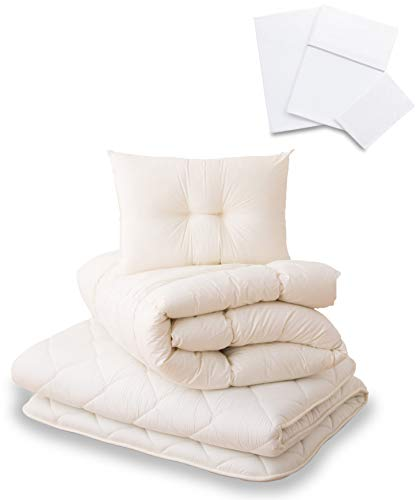EMOOR Japanese Futon Set Classe Full Size with 100% Cotton Cover Set (White) Made in Japan ()