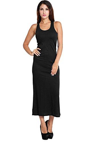 Dozenla Robe Longue Moulante Moulantes Casual Robes Longues Sans Manches Midi Robes Habillées De Noir Moulante