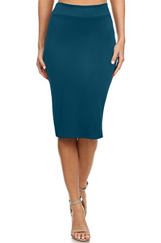 Women's Below The Knee Pencil Skirt for Office Wear - Made in USA (Size XXX-Large, Teal)