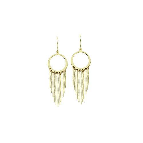14kt Yellow Gold Open Disc Beaded Chain Fishhook Earrings ()