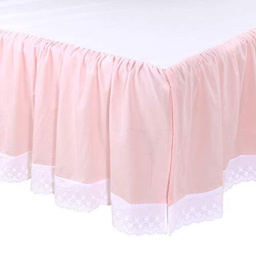 (Farmhouse Pink Ruffled Baby Girl Crib Skirt - 100% Cotton Drop with White Eyelet)