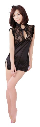 DXS Women's Lace&Gauze Sexy Lingerie Sheer Chinese-Style Cheongsam