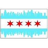 JS Artworks (3) Chicago City Skyline Flag Funny Hard Hat/Helmet Vinyl Decal Sticker