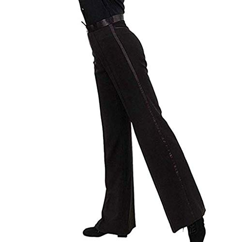 ACSUSS Men's Sequin Cuff Bell Bottom Disco Pants Flared Trousers Dude Costume Ballroom Black XX-Large -