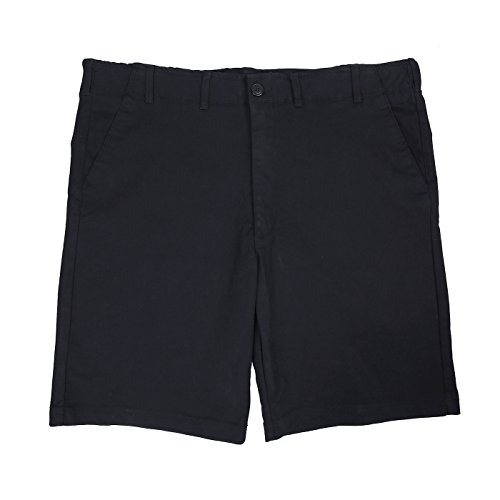 HDE Mens Big and Tall Shorts Comfort Waist Classic Fit Twill Cotton Blend Chino (Black, 46) by HDE (Image #3)