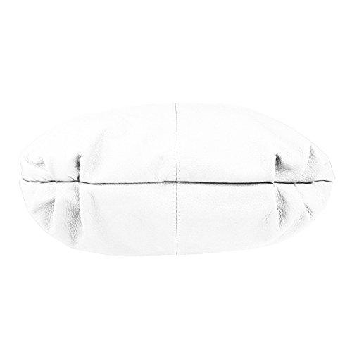 MADE IN ITALY DONNA XXL Pelle Borsa Shopper Borsa a tracolla da spalla, Borsa a sacchetto 47x35x16 cm ( BxHxT ) - bianco, 47x35x16 cm ( BxHxT ) bianco